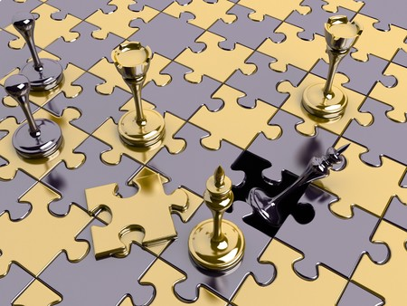 Chess on a puzzle board photo