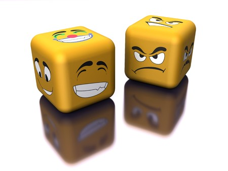 mirrored: mirrored dice with emotion Stock Photo