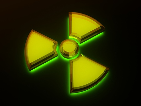 Sign - radioactive danger with fluorescence photo