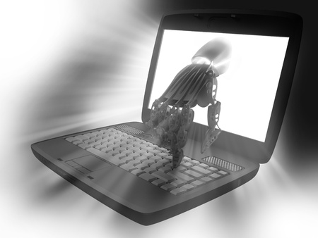 Hand of the robot and the laptop photo