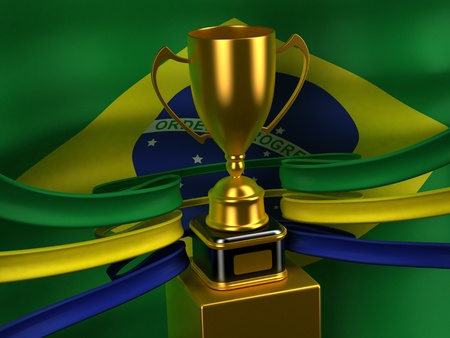 Brazil flag with gold cup photo