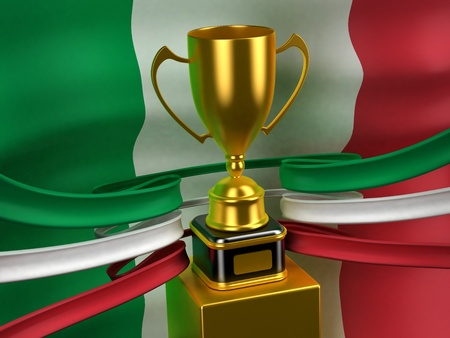 Italian Republic flag with gold cup photo