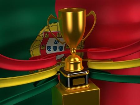 rewarding: Portuguese Republic flag with gold cup