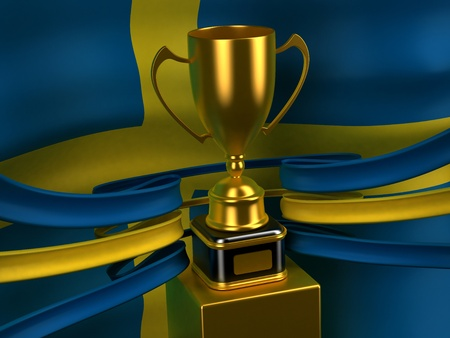 Sweden flag with gold cup Stock Photo - 8789119