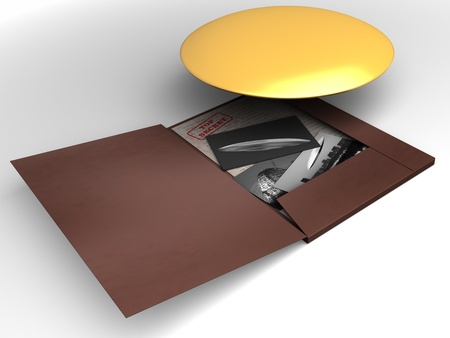Top secret file with UFO Stock Photo - 9008643