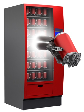 dispense: vending machine with cyborg hand and beverage in can