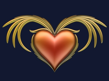 Red heart with gold wings  photo