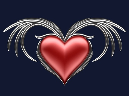 Red heart with wings photo