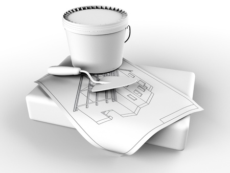 contruction: plaster and trowel Stock Photo