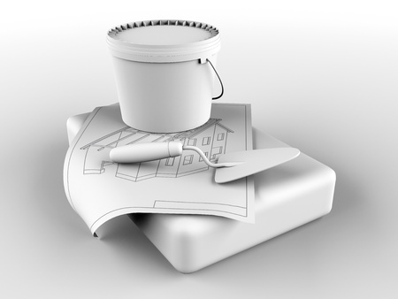 tile adhesive: plaster and trowel Stock Photo