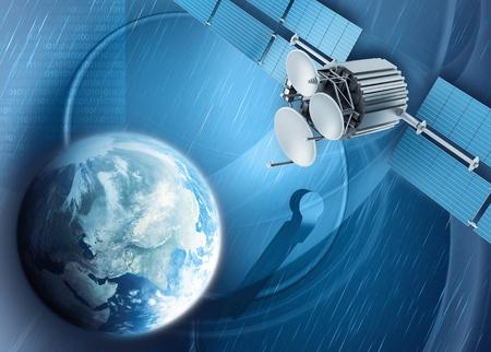 antena parabolica: TV v�a sat�lite Foto de archivo