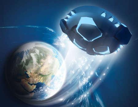 UFO - Untertasse verlässt die Erde Standard-Bild