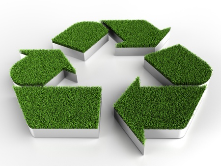 Recycle ico with grass photo