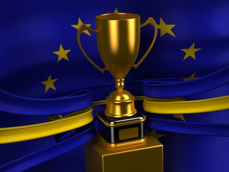 European Union flag with gold cup  photo