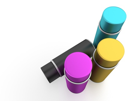 Spray cans with CMYK color photo