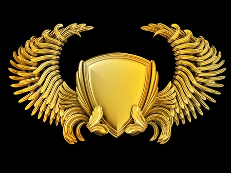 Escudo de armas con las alas y el escudo Foto de archivo - 13157146