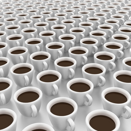 It is a lot of cups of coffee  Stock Photo