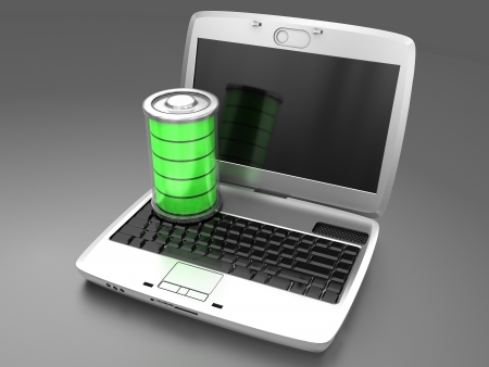 Battery charging in a laptop  Stock Photo - 15887618