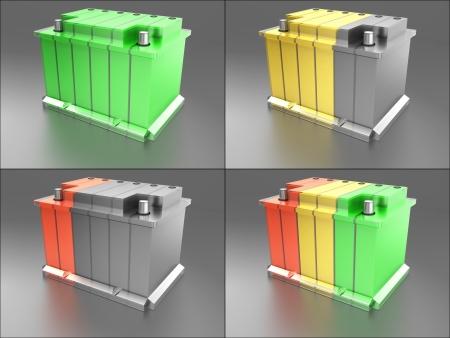 pila: Set - Carga de la batería Foto de archivo