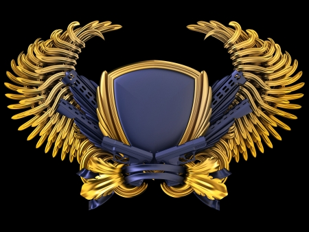 security equipment: coat of arms with gun and wings