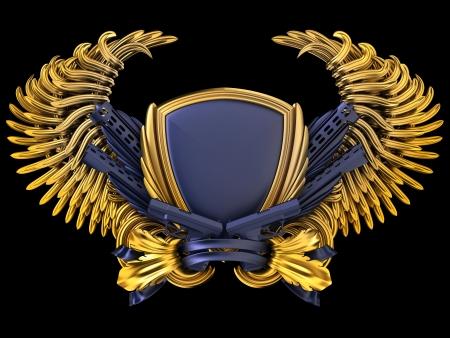 guarda de seguridad: escudo de armas con arma de fuego y alas