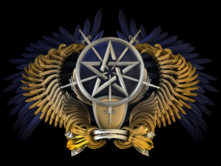 Coat of arms - wings with pentagram  photo