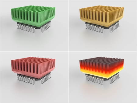 over burdened: set - micro chip with heat sink