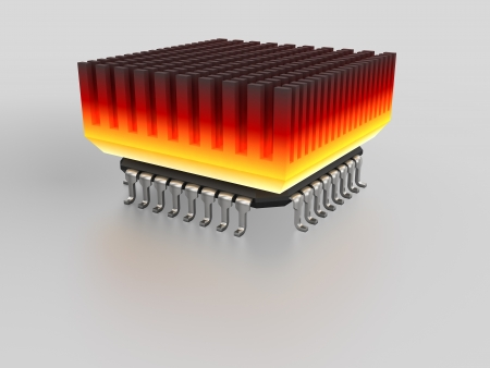 over burdened: micro chip with hot heat sink Stock Photo