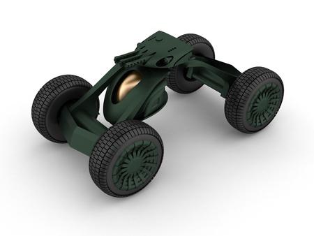 futuristic pistol: Military droid car with heavy gun
