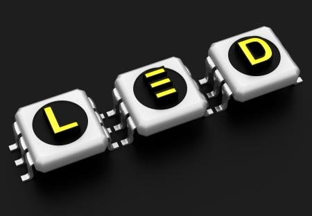 light emitting diode: LED technology sign Stock Photo
