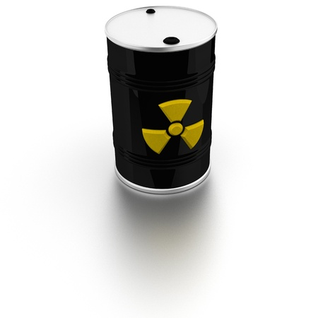 radioactivity: Barrel with radio-activity warning sign
