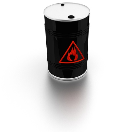 flammable: Barrel with sign Flammable warning