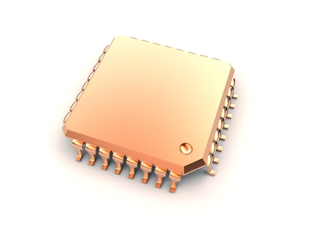 micro chip: gold micro chip Stock Photo