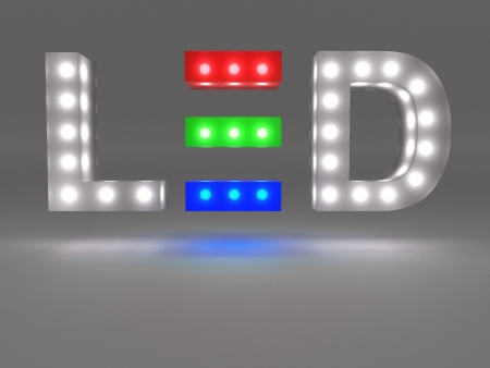 lights on: LED technology sign Stock Photo
