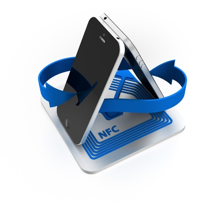 near: near field communication  NFC  with smartphone Stock Photo