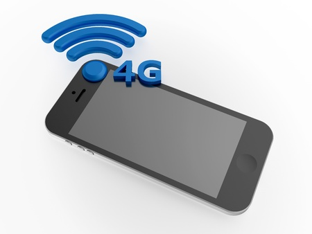 long term evolution: Sign 4G standard with smartphone Stock Photo