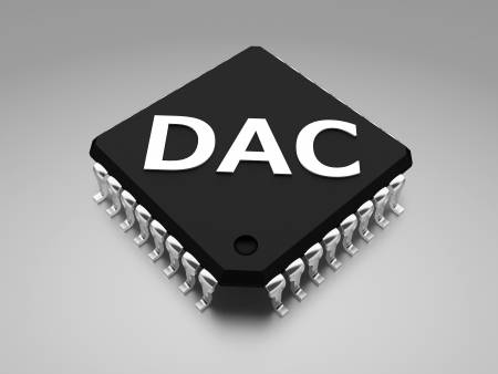 d data:  DAC or D-to-A  Digital to analog converter Stock Photo