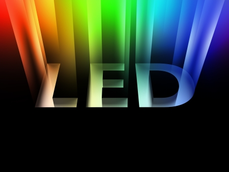 Light-Emitting Diode LED - Schild mit Strahl Standard-Bild - 23989014