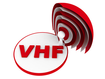 high frequency: VHF  Very high frequency  range sign Stock Photo