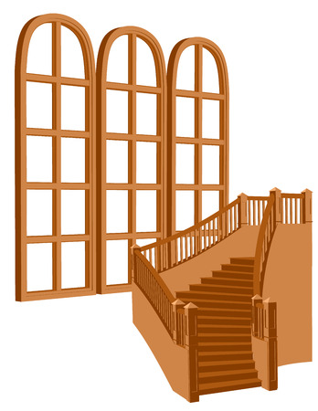 stair near window Vector