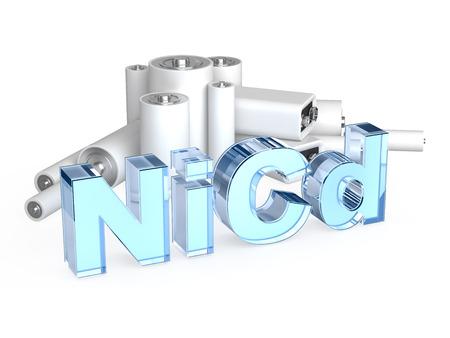 9v battery: NiCd, nickel-cadmium accumulator battery Stock Photo