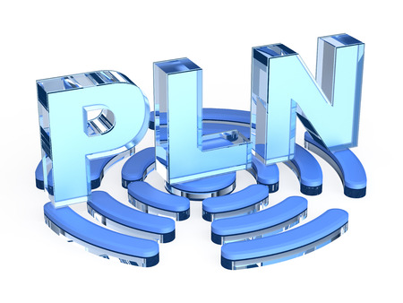 powerline: PLN - power-line networking Stock Photo