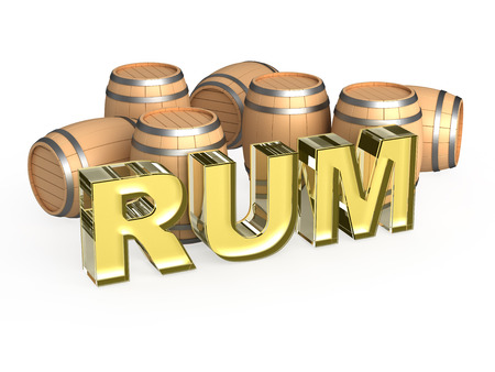 casks: Rum word with wood casks Stock Photo