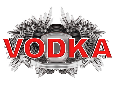 vodka: vodka label with wings Stock Photo