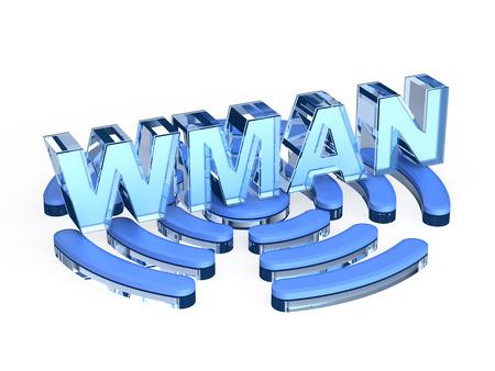 wireless hot spot: WMAN ? wireless metropolitan area network Stock Photo