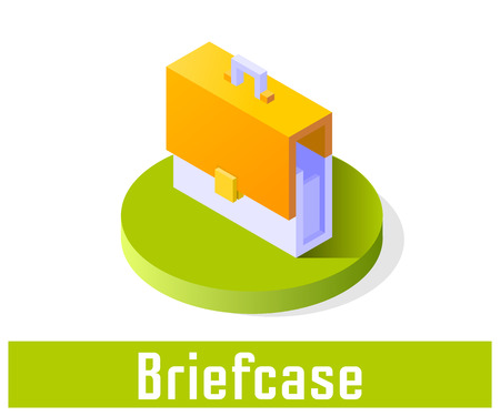 Briefcase icon, vector symbol in flat isometric style isolated on white background.
