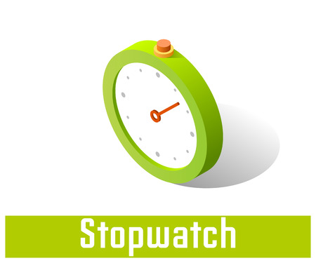 Stopwatch icon, vector symbol in flat isometric style isolated on white background.