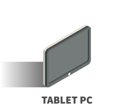 mobile communication: Tablet PC icon, vector symbol in isometric 3D style isolated on white background.