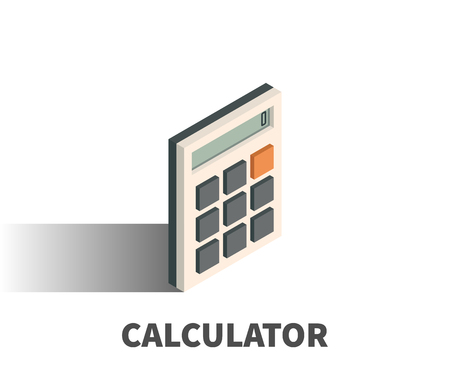 mathematics: Calculator icon, vector symbol in isometric 3D style isolated on white background.