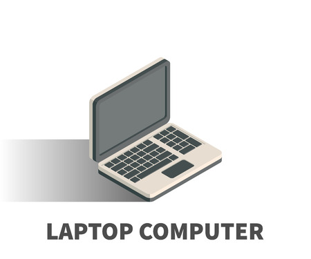 monitor: Laptop computer icon, vector symbol in isometric 3D style isolated on white background.